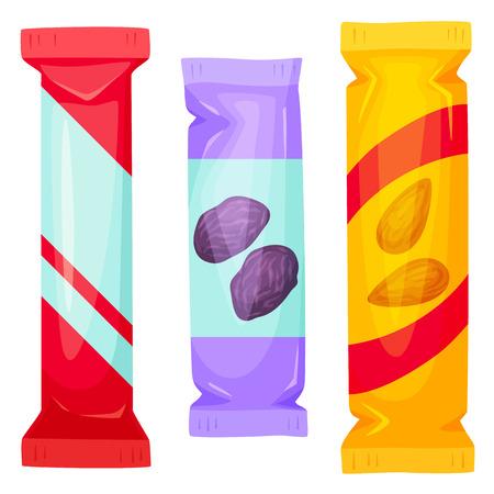 Schokoriegel packen. Snack-Bar Verpackung Vektor-Illustration. Müsliriegel - gesunde Snack. Fast Food. Cartoon Candybar Verpackung. Wrapper für Schokoriegel leer. Verpackungsvorlage