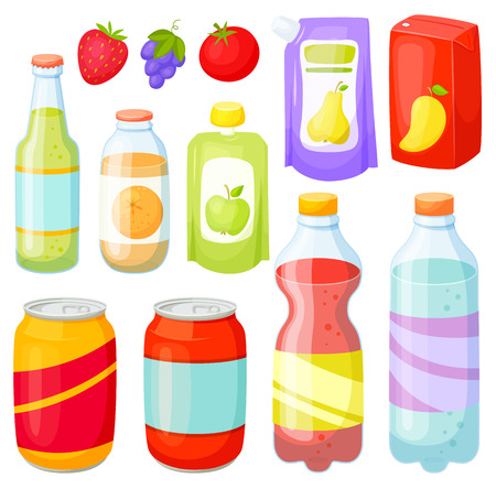 mart: Drinks and soda bottle set. Beverage packaging:  plastic ans glass bottles, cans, doy pack, jars, box. Bottles and cans of soda, cola, water, juice, soft drinks. Design of bottles and cans for drinks