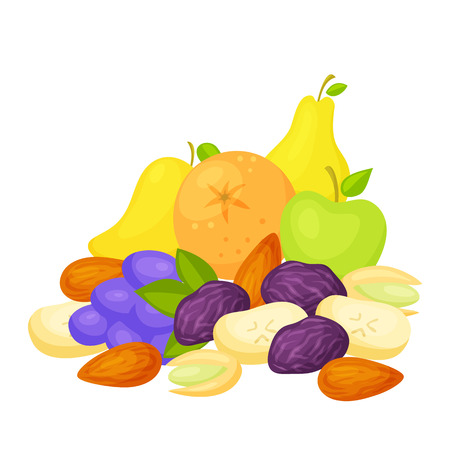 pistachio: Healthy snack. Healthy food: fresh and dried fruits, nuts. A healthy breakfast: a pear, an apple, orange, grape, mango, prunes, dried banana, pistachio, almonds. Healthy snack vector. Snacking foods