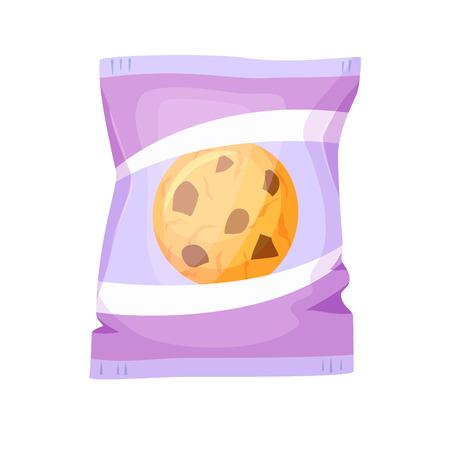 Cookies Pack. biscuits au chocolat emballage illustration vectorielle. Petit déjeuner collation. Fast food. Cartoon biscuits au chocolat emballage. Wrapper pour biscuit blanc. modèle d'emballage