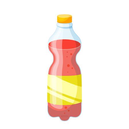 Soda bottle. Drinks and soda plastic bottle vector illustration. Beverage packaging. Bottle of soda, cola, water, beer, soft drinks. Design of bottle for drinks. Cartoon bottle blank