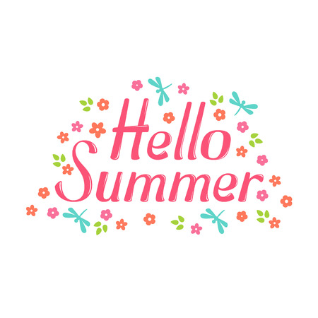 greeting season: Hello Summer vector lettering and flower. Hello Summer lettering isolated on white background. Hello Summer text  and floral vector illustration. Hello Summer word and flowers. Season greeting poster