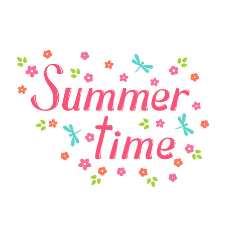 greeting season: Summer time vector lettering and flower. Summer time lettering isolated on white background. Summer time text  and floral vector illustration. Summer time word and flowers. Season greeting poster