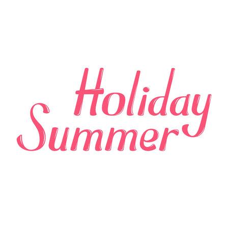 greeting season: Hello Summer vector lettering. Hello Summer lettering isolated on white background. Hello Summer text vector illustration. Hello Summer word. Season greeting poster