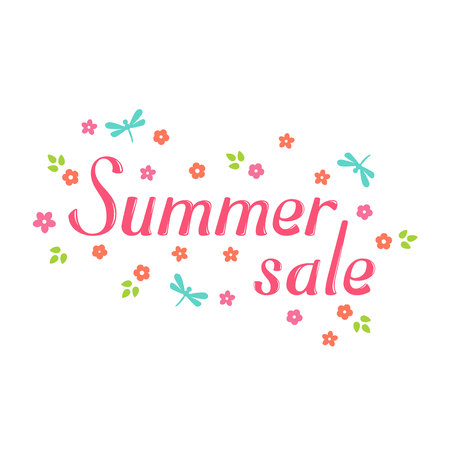 greeting season: Summer sale vector lettering and flower. Summer sale lettering isolated on white background. Summer sale text  and floral vector illustration. Summer sale word and flowers. Season greeting poster