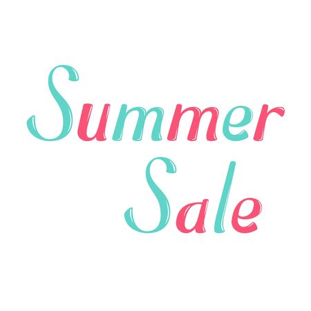 greeting season: Summer sale vector lettering. Summer sale lettering isolated on white background. Summer sale text vector illustration. Summer sale word. Season greeting poster