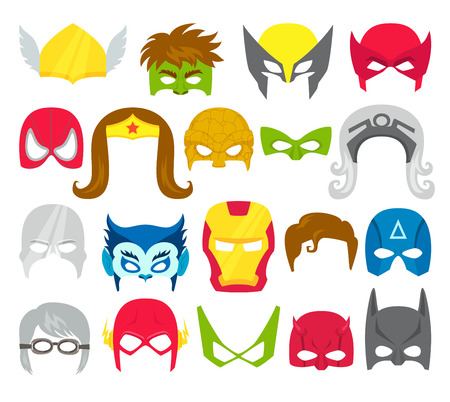 Super hero masks set. Supperhero masks for face character in flat style. Masks of heroic, savior and superhero. Comic super hero masks vector illustration. Super hero photo props. Super hero face Vettoriali