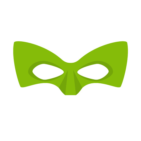 Super hero green mask. Supperhero mask for face character in flat style. Masks of heroic, savior or superhero. Comic super hero mask vector illustration. Super hero photo props. Super hero face Vettoriali