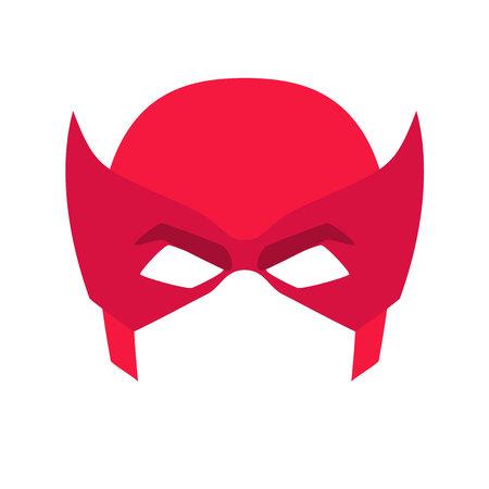 Super hero red mask. Supperhero mask for face character in flat style. Masks of heroic, savior or superhero. Comic super hero mask vector illustration. Super hero photo props. Super hero face Vettoriali
