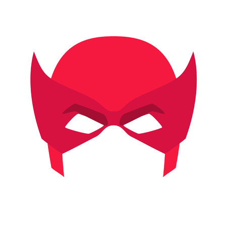 Super hero red mask. Supperhero mask for face character in flat style. Masks of heroic, savior or superhero. Comic super hero mask vector illustration. Super hero photo props. Super hero face Illustration