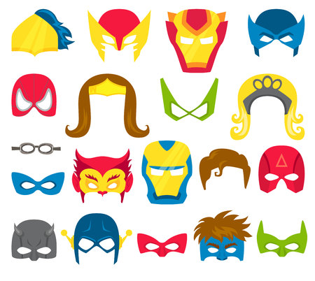 heroic: Super hero masks set. Superhero masks for face character in flat style. Masks of heroic, savior and superhero. Comic super hero masks vector illustration. Super hero photo props. Super hero face