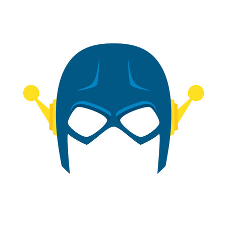 Super hero blue mack. Superhero mask for face character in flat style. Masks of heroic, savior or superhero. Comic super hero mask vector illustration. Super hero photo props. Super hero face. Spider