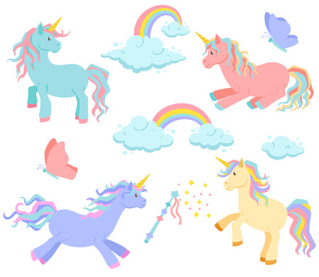 Unicorn, rainbow and clouds magic vector set. Unicorn sleeps, rides standing. Cute unicorn cartoon illustration. Unicorns, rainbows and clouds, magic wand and butterflies for birthday greeting card Illustration