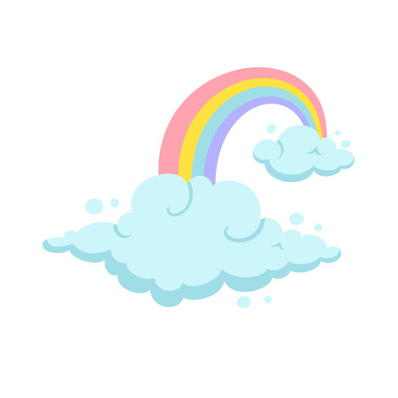 cloud clipart: Rainbow and clouds cartoon vector. Rainbow and cloud clipart. Cute rainbow and cloud illustration. Kids poster design with rainbow and clouds. Birthday greeting card