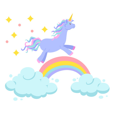 Unicorn ride on rainbow and clouds magic vector set. Unicorn is rides. Cute unicorn cartoon illustration. Unicorns, rainbows and clouds for birthday greeting card. Cute child poster