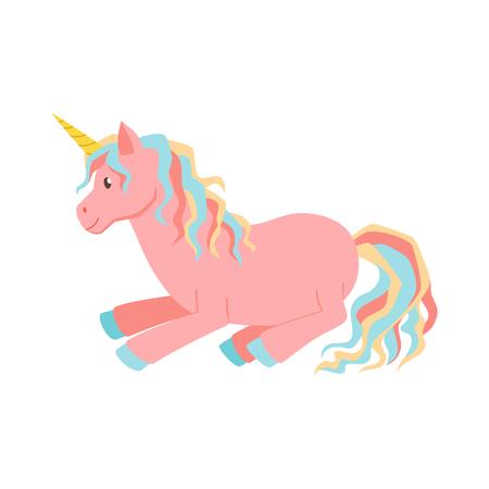 vector de la magia del unicornio. Unicornio es duerme. ilustración de dibujos animados lindo del unicornio. Unicornios para la tarjeta de felicitación de cumpleaños. cartel lindo del niño Ilustración de vector