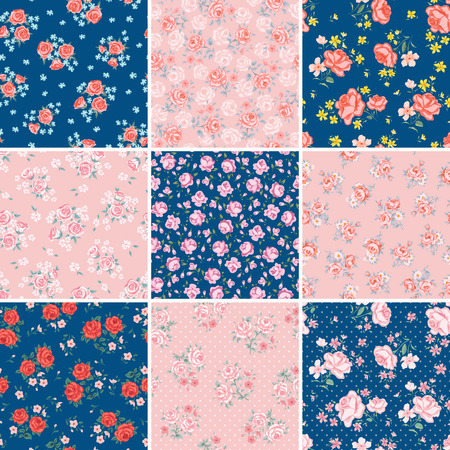 Flower seamless pattern vector set. Simple floral print with rose. Small rose flower seamless background. Small rose flower pattern illustration. Small rose seamless pattern design Rose vector pattern
