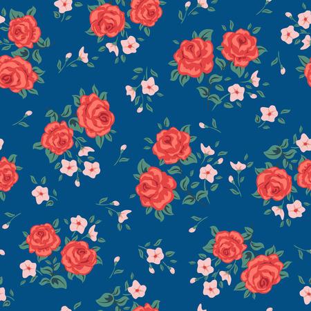꽃 원활한 패턴 벡터. 장미와 간단한 꽃 무늬. 작은 장미 꽃 원활한 배경입니다. 작은 장미 꽃 패턴입니다. 작은 원활한 패턴 디자인을했다. 장미 벡터  일러스트