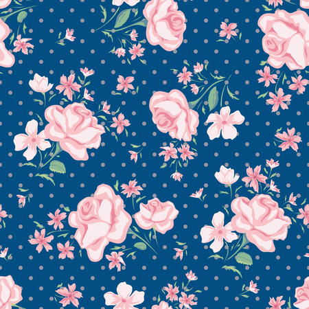 Flower seamless pattern vector. Simple floral print with rose and polka dot. Small rose flower seamless background. Small rose flower pattern illustration. Small rose seamless pattern design. Imagens - 58289242