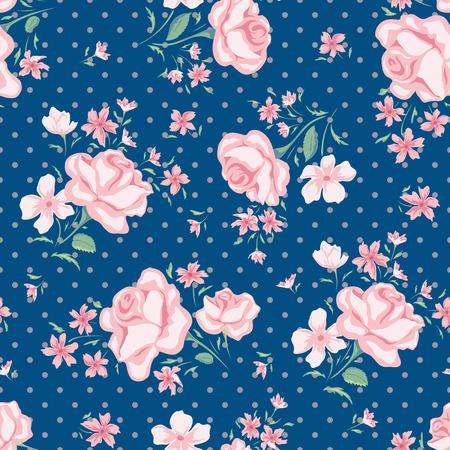 Seamless pattern fiore vettore. stampa floreale semplice con rosa e pois. Piccolo fiore rosa senza soluzione di sfondo. Piccolo modello illustrazione fiore di rosa. Piccola rosa design seamless. Archivio Fotografico - 58289242