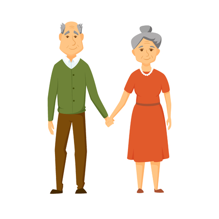 Happy old couple stand together and hold hands. Smile elderly man and women.