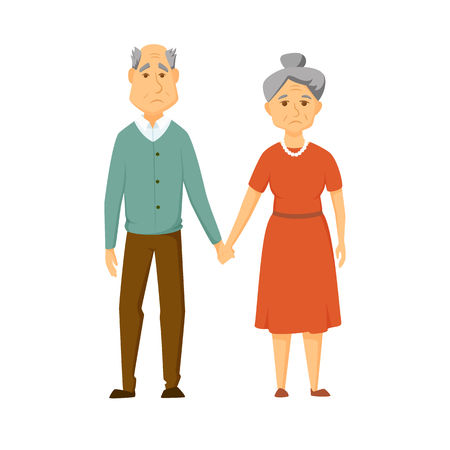 anxious: Sad old couple stand together and hold hands. Unhappy elderly man and women.