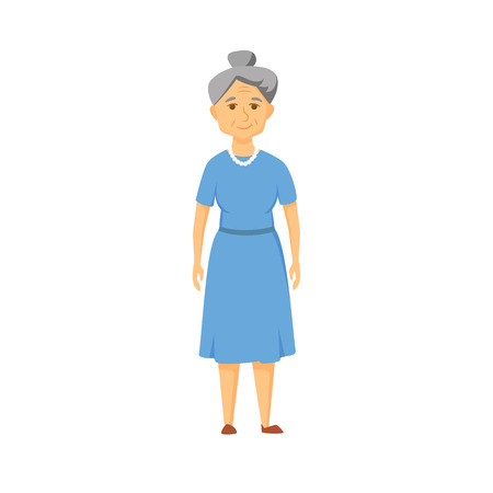 age old: Happy old woman stands. Smile elderly woman. Illustration