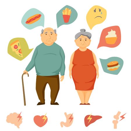 hombre y mujeres de edad infografía obesidad. alimentos poco saludables y la carta de ataque de órganos humanos. las personas mayores de grasa concepto. Sad infografía par de dieta. ataque al corazón, el cerebro, el hígado, los huesos, estómago, hamburguesa icono del vector Vectores