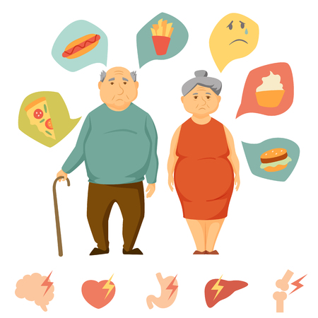 overweight: Old man and women obesity infographics. Unhealthy food and human organ attack chart. Fat old people concept. Sad couple diet infographics. Heart attack, brain, liver, bone, stomach, burger vector icon