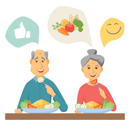 Vecchio coupé mangiare cibo sano. Vecchie coppie cibo sano infografica. Gli anziani concetto sano stile di vita. paio Sorriso mangiare cibo sano a casa insieme. l'uomo e la donna a fare colazione Anziani