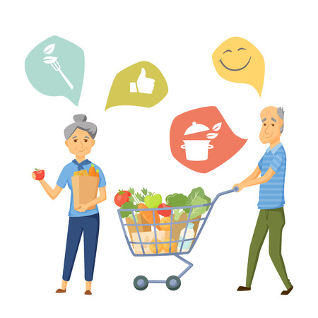 Old coupe with shoping cart and bag. Old couple healthy food infographic. Old people healthy lifestale concept. Smile couple buy healthy food together. Cooking icon. Elderly man and women in shop Illustration