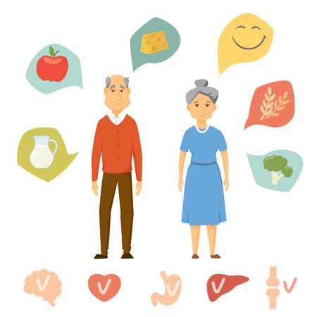 pareja de ancianos infografía de alimentos saludables. La comida sana y el gráfico de órganos humanos. La gente mayor concepto de estilo de vida saludable. Sonrisa infografía par de dieta. Corazón, el cerebro, el hígado, los huesos, icono del vector de estómago.