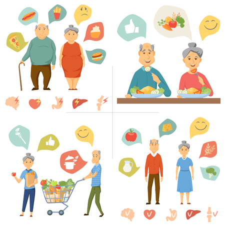 Old couple healthy food infographics. Healthy and junk food, human organ chart. Old people healthy lifestyle concept. Smile couple diet infographics. Old man and woman eating and shopping food. Imagens - 60390762