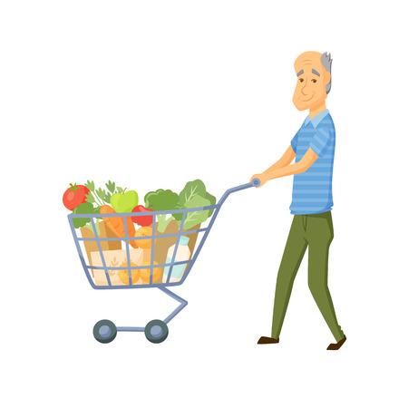 older men: Older men with shopping cart full of healthy food. Senior buy vegetable on market. Old men hold with shopping trolley full of healthy food . Grandpa buy products. Old men with shopping cart vector
