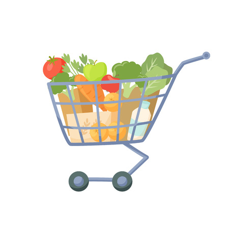 shoping bag: Shopping cart. Full of products supermarket trolley. Cartoon shopping cart vector illustration. Shopping cart with fresh healthy food. Supermarket basket with fruit and vegetable. Illustration