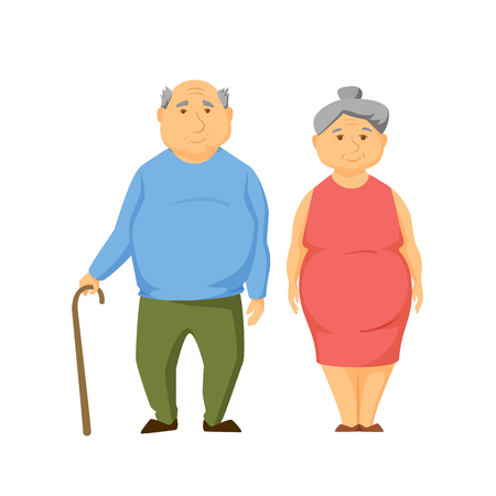 age old: Happy old fat couple stand together and hold hands. Smile elderly obesity men and women. Old couple cute vector illustration. Cartoon elderly man and women. Smile adult family. Cheerful old couple. Illustration