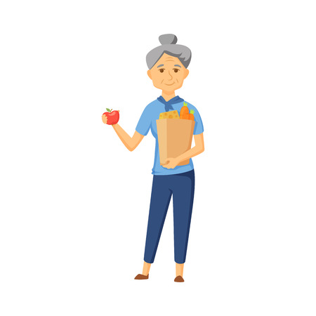 Older women with shopping bag full of healthy food. Senior buy vegetable on market. Old women hold apple and shopping bag with healthy food . Grandma buy products. Old woman with shopping bag vector. 向量圖像