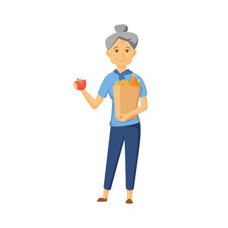 older: Older women with shopping bag full of healthy food. Senior buy vegetable on market. Old women hold apple and shopping bag with healthy food . Grandma buy products. Old woman with shopping bag vector. Illustration