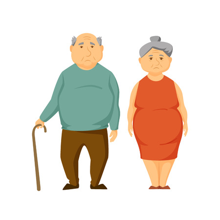 old couple: Sad old fat couple stand together. Unhappy elderly obesity man and women. Sad old couple vector illustration. Cartoon elderly man and woman. Unhappy overweight adult family. Worried old couple.