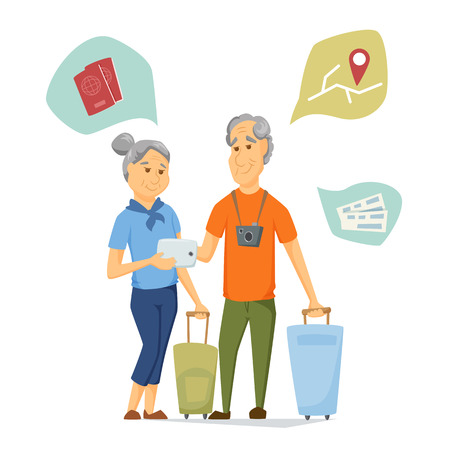 Seniors travel with suitcase and use tablet. Pensioners have a trip together. Old man and women look at computer map. Cartoon older traveller on vacation vector illustration. Elderly people character Illustration