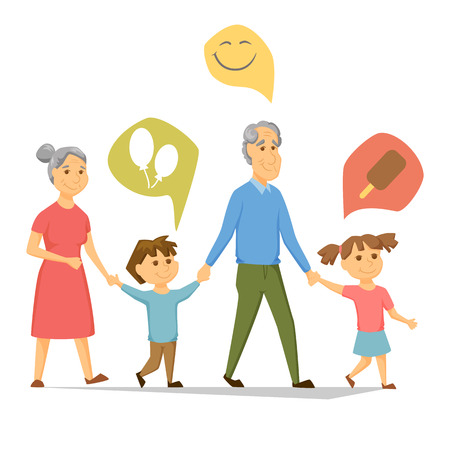 grandchildren: Grandparents with grandchildren walking. Old people have leisure with children. Grandma and Grandpa hold hands girl and a boy. Seniors activity. Joint generations walk. Ice cream, smile, balloon icon Illustration