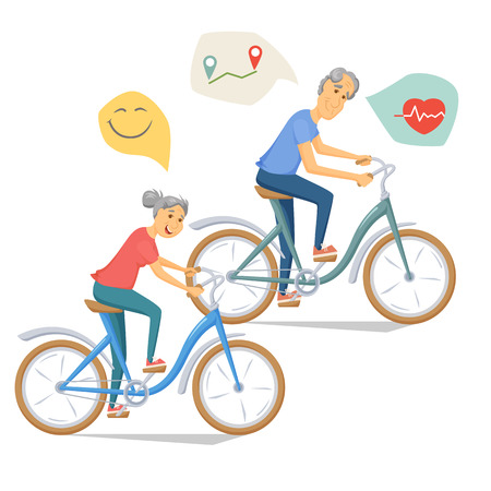 bicycling: Seniors bicycling and smiling. Pensioners ride bike together. Old man and women leisure. Cartoon older healthy cyclist vector illustration. Elderly people character have a fun. Couple fitness.