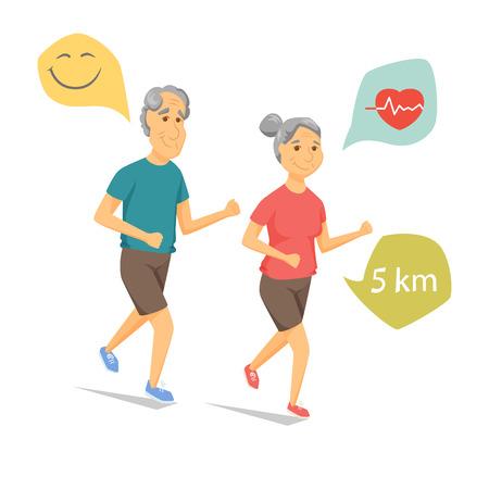 Senioren laufen und lächelnd. Pensionäre Joggen zusammen. Alter Mann und Frauen Freizeit. Cartoon ältere Läufer Vektor-Illustration. Ältere Menschen Charakter haben einen Spaß. Paar Fitness. Gesunder Lebensstil Vektorgrafik
