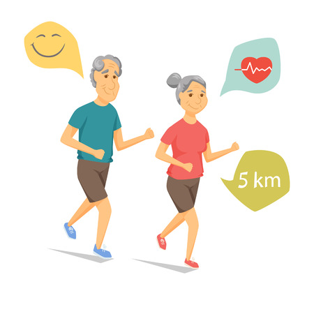 happy mature couple: Seniors running and smiling. Pensioners jogging together. Old man and women leisure. Cartoon older runners vector illustration. Elderly people character have a fun. Couple fitness. Healthy lifestyle
