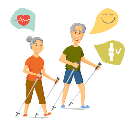 Seniors nordic walking. Pensioners walk together. Old man and women leisure. Cartoon older character sport vector illustration. Elderly people hiking and have a fun. Couple fitness. Healthy lifestyle