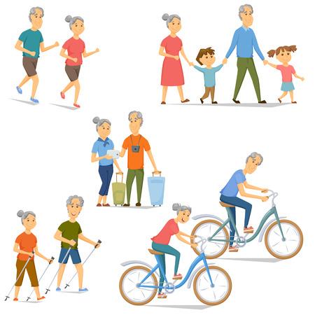 Anziani tempo libero e set di attività. I pensionati in bicicletta, corsa, viaggio, nordic walking, Wolk con i nipoti. Cartoon vecchio e donne fitness e sport vettore. Le persone anziane stile di vita sano Archivio Fotografico - 60390814