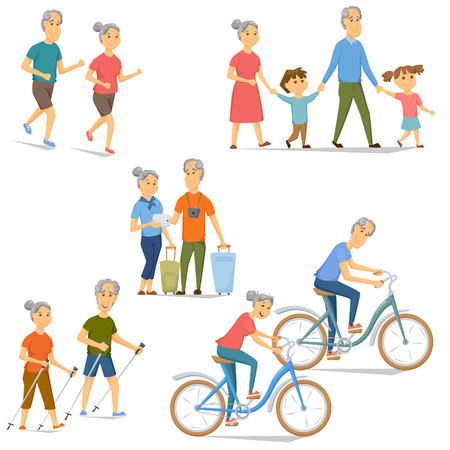 Seniors leisure and activity set. Pensioners bicycling, running, traveling, nordic walking, wolk with grandchildren. Cartoon old man and women fitness and sport vector. Older people healthy lifestyle