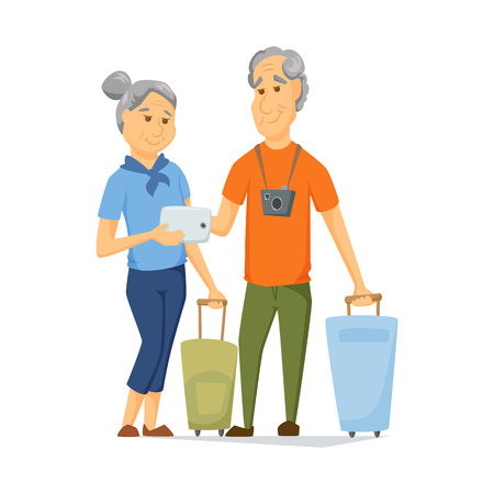 older woman smiling: Seniors travel with suitcase and use tablet. Pensioners have a trip together. Old man and women look at computer map. Cartoon older traveller on vacation vector illustration. Elderly people character Illustration