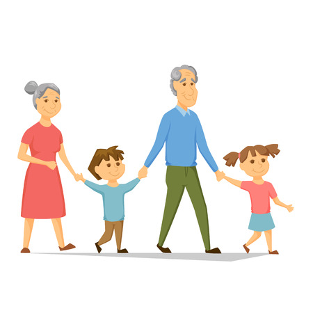 Grandparents with grandchildren walking. Old people have leisure with children. Grandma and Grandpa hold hands girl and a boy. Seniors activity. Joint generations walk. Happy family together Stock Illustratie