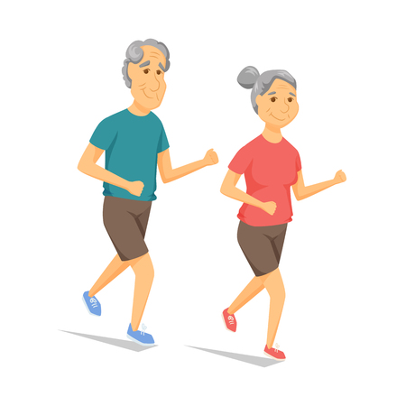 older couple: Seniors running and smiling. Pensioners jogging together. Old man and women leisure. Cartoon older runners vector illustration. Elderly people character have a fun. Couple fitness. Healthy lifestyle